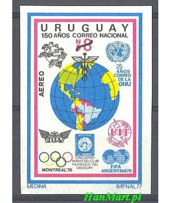 Urugwaj 1977 Mi ged 1465 Czyste **