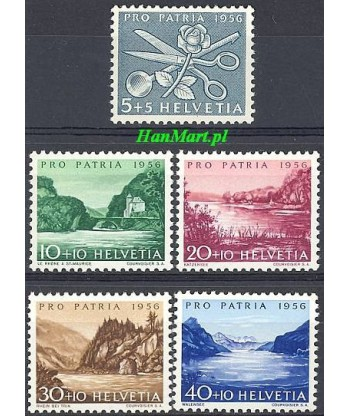 Szwajcaria 1956 Mi 627-631 Czyste **