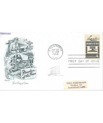 USA 1958 Mi adr 738 FDC