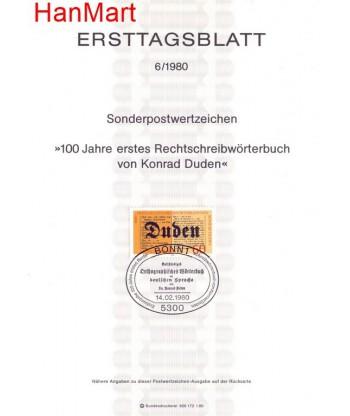 Niemcy 1980 Mi  Pierwszy dzień wydania