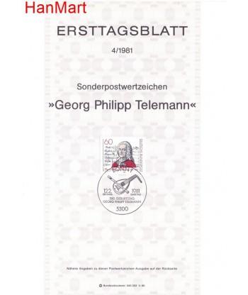 Niemcy 1981(4) Mi  Pierwszy dzień wydania