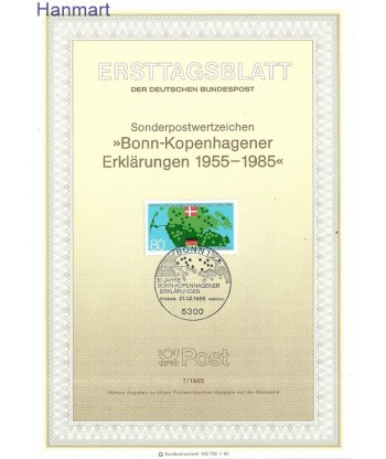 Niemcy 1985(7) Mi  Pierwszy dzień wydania