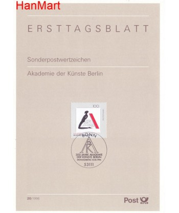 Niemcy 1996(20) Mi  Pierwszy dzień wydania