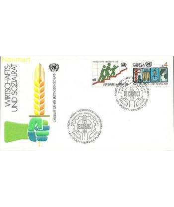 Narody Zjednoczone Wiedeń 1980 Mi 14-15a FDC