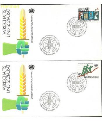 Narody Zjednoczone Wiedeń 1980 Mi 14-15b FDC