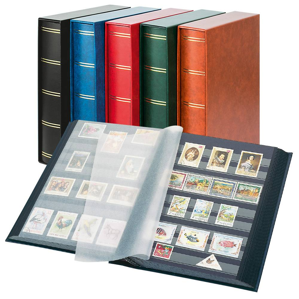 Stockbook 30 pages / 60 sides black pages with case