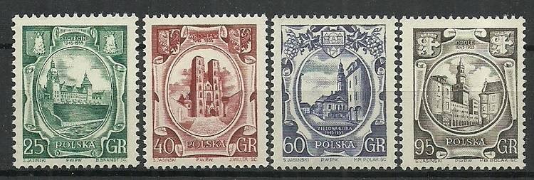 Polska 1955 Mi 942C+943-945A Fi...