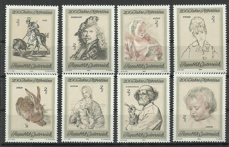 Austria 1969 Mi 1307-1314 Czyste **